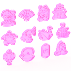 Screenshot_1.png Download STL file Japanese cookie cutter set of 12 • 3D printable design, roxengames