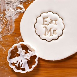 Download 3D printer files Alice in Wonderland cookie cutter | Eat me, roxengames
