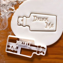 Download 3D printer model Alice in Wonderland cookie cutter | Drink me, roxengames