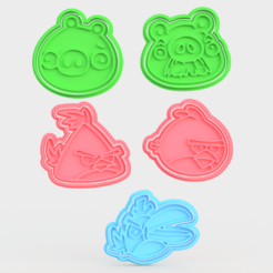 Download 3D printing templates Angry birds cookie cutter set of 5, roxengames