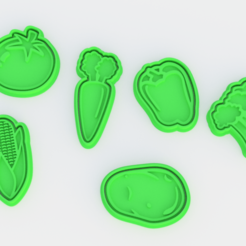 Download 3D printer model Vegetables cookie cutter set of 6, roxengames