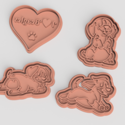 Download 3D printing models Beagle dog cookie cutter set of 4, roxengames