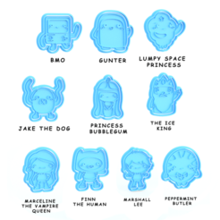 Download 3D printer files Adventure time cookie cutter set of 10, roxengames