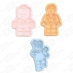 1.jpg Télécharger fichier STL Ensemble de 3 moules à biscuits Lego • Objet pour impression 3D, roxengames