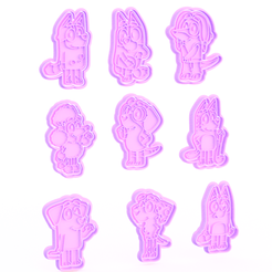 Screenshot_1.png Download STL file Bluey cartoon cookie cutter set of 9 • 3D printing model, roxengames