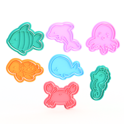 Download 3D printing files Sea creatures cookie cutter set of 7, roxengames