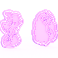 Download 3D printing templates Lady And The Tramp cookie cutter set of 2, roxengames