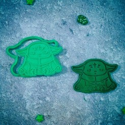 Download STL file Baby Yoda Mandalorian sits cookie cutter, roxengames