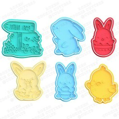 Cute easter cookie cutter set of 6.jpg Download STL file Cute Easter cookie cutter set of 6 • 3D printer model, roxengames