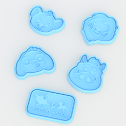 Download 3D printer templates The Lion King cookie cutter set of 5, roxengames