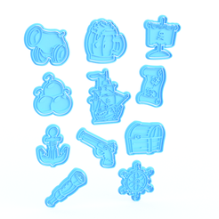 Screenshot_2.png Download STL file Pirate cookie cutter set of 11 • 3D printable template, roxengames