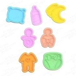 Download STL file Baby Shower cookie cutter set of 7 • 3D printable model, roxengames