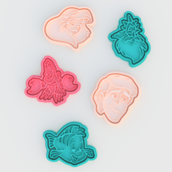 Download 3D model Ariel the little mermaid cookie cutter set of 5, roxengames