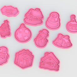 Screenshot_2.png Download STL file Christmas Cookie Cutter Set of 11 • 3D printer design, roxengames