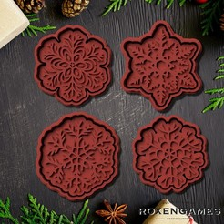 Download 3D printing templates Snowflake cookie cutter set of 4, roxengames