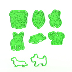 Download 3D printer model Dog cookie cutter set of 8, roxengames