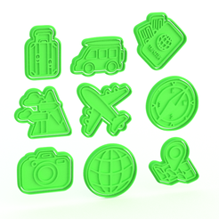 Download 3D printing templates Travels cookie cutter set of 9, roxengames