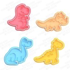 1.jpg Download STL file Dinosaur cookie cutter set of 4 • 3D printer template, roxengames
