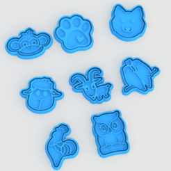 Download 3D print files Animal cookie cutter set of 8, roxengames