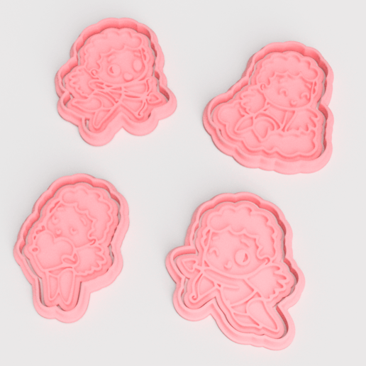 Download STL files Valentine's Day Cupid cookie cutter of 4, roxengames
