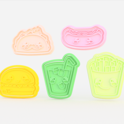 Screenshot_1.png Download STL file kawaii food cookie cutter set of 5 • 3D printer model, roxengames