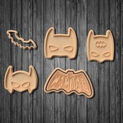 Download 3D printer files Batman cookie cutter set of 5, roxengames