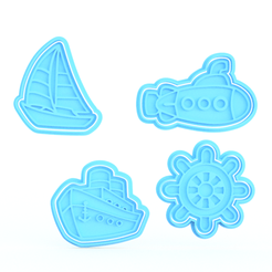 Download STL files Sea ships elements cookie cutter set of 4, roxengames
