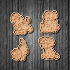 unnamed2.jpg Download STL file 101 Dalmatians cookie cutter set of 6 • 3D printer object, roxengames