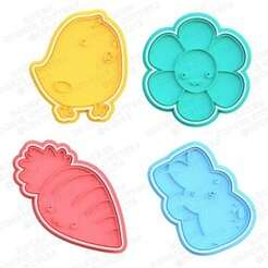 Kawaii easter cookie cutter set of 4.jpg Download STL file Kawaii Easter cookie cutter set of 4 • 3D printer object, roxengames