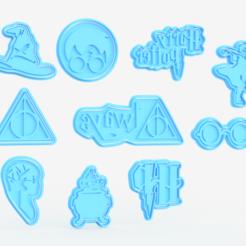 Télécharger fichier impression 3D Ensemble de 10 moules à biscuits Harry Potter, roxengames