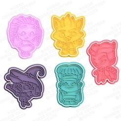 1.jpg Download STL file Super Monsters cookie cutter set of 5 • 3D printable template, roxengames