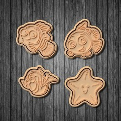 Download STL files Finding nemo cookie cutter set of 7, roxengames