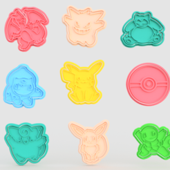 Download 3D printer model Pokemon cookie cutter set of 9, roxengames
