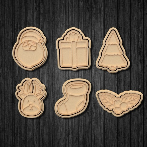 Download 3D printer templates Christmas Elements Cookie Cutter Set of 6, roxengames