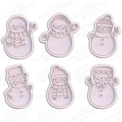 1.jpg Download STL file Snowman cookie cutter set of 6 • 3D print object, roxengames
