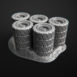 Download free 3D printer templates Car wheels, stacked truck, apocalyptic, post-apocalyptic, 3DForge