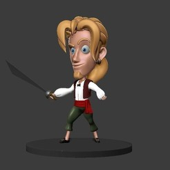 Download 3D printer model Chibi Morgan Guybrush Monkey Island, 3DForge