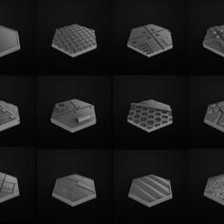 Télécharger modèle 3D gratuit Miniatures des bases Hexa. Peanas Miniaturas hexagonales, 3DForge