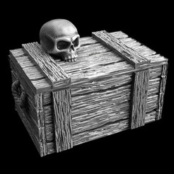 Download free 3D printing files 28mm box with skull, 3DForge