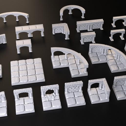 Télécharger objet 3D gratuit Ensemble de tuiles Dungeons, 3DForge
