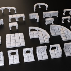 Download free STL Dungeons Tile Set, 3DForge