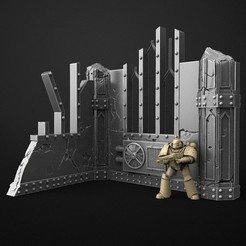 Download free STL terrain wall for 40k warhammer or futuristic environment, 3DForge