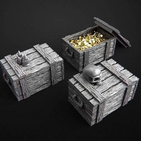 Download 3D printing files 28mm box with skull, 3DForge