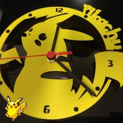 P_20191222_1741552.jpg Télécharger fichier STL Horloge Pikachu Pokemon • Objet imprimable en 3D, hattori_franck
