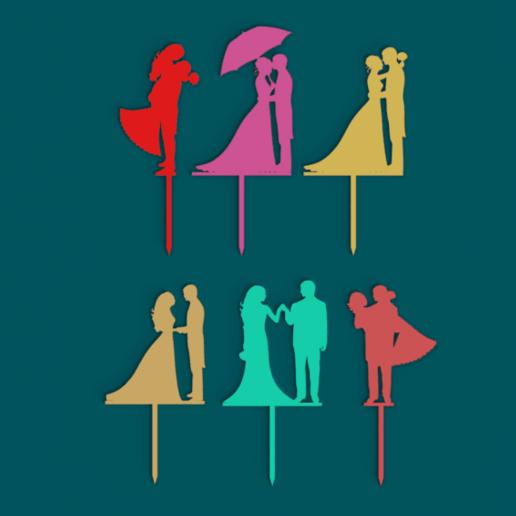 Download free STL files Wedding Cake toppers 2, MAyobe