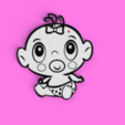 Download 3D printer files Baby Girl Keychain, MAyobe