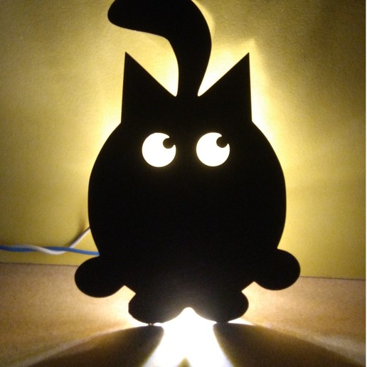IMG_20190818_214608.jpg Download free STL file Cat Wall Light • 3D printable design, MAyobe