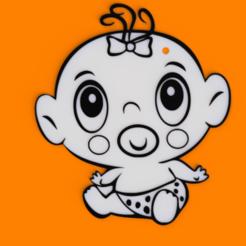 3.png Télécharger fichier STL Porte-clés Bébé Fille • Objet pour imprimante 3D, MAyobe
