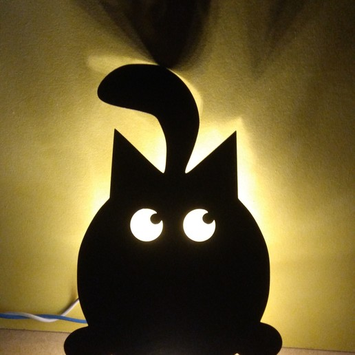 IMG_20190818_214603.jpg Download free STL file Cat Wall Light • 3D printable design, MAyobe