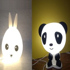 Download 3D print files Bunny head & Panda light lamp Offer, MAyobe